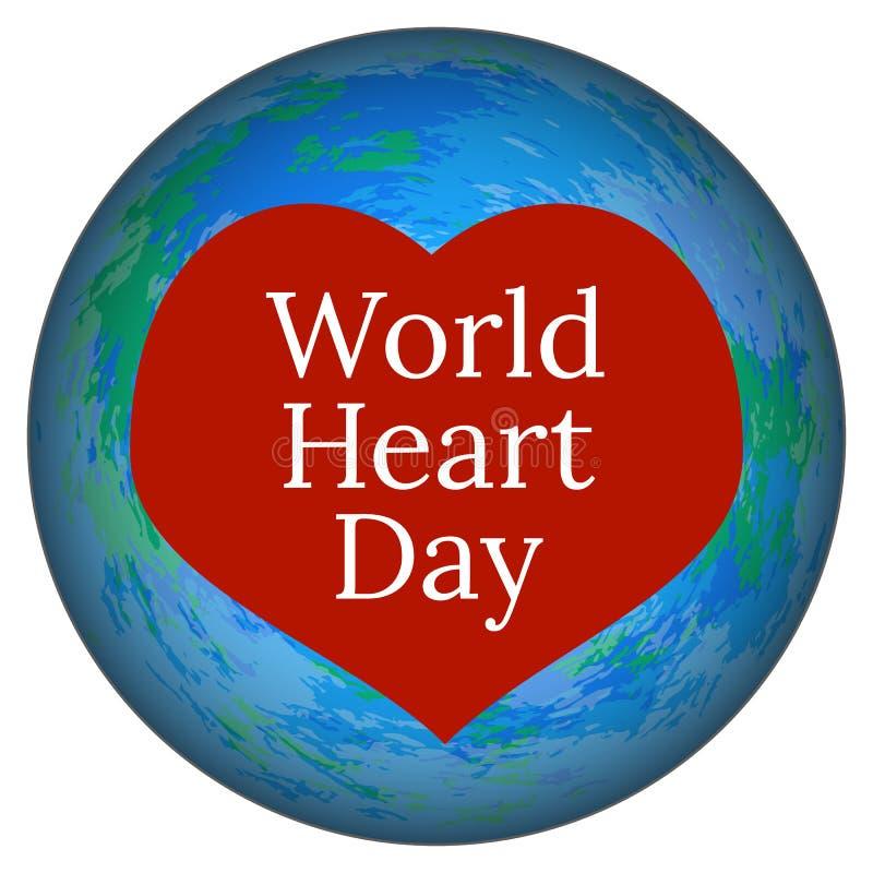 Dia do coração do mundo 29 de setembro Terra e coração do planeta ilustração stock