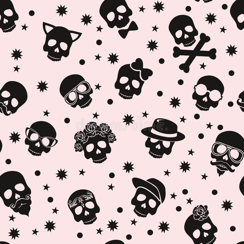 Dia do crânio à moda com ornamento e do floral inoperantes, coloridos ilustração do vetor