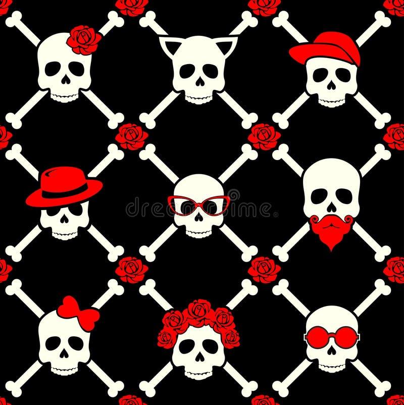 Dia do crânio à moda com ornamento e do floral inoperantes, coloridos imagens de stock