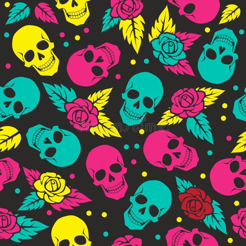 Dia do crânio à moda com ornamento e do floral inoperantes, coloridos ilustração royalty free