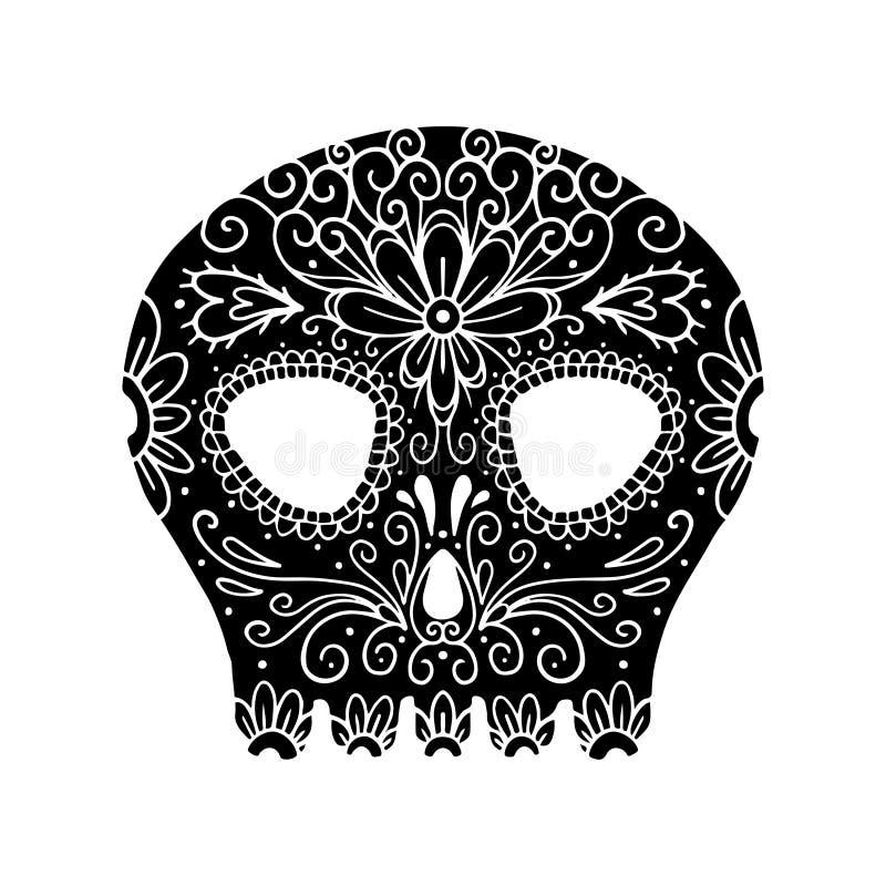 Dia do crânio inoperante da ilustração Jogo da ilustração do vetor Esqueleto da tatuagem ilustração stock