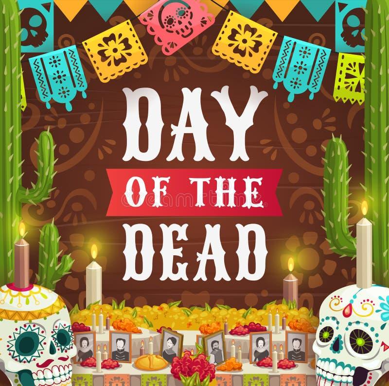Dia do crânio inoperante, mexicano do catrina do calavera ilustração royalty free