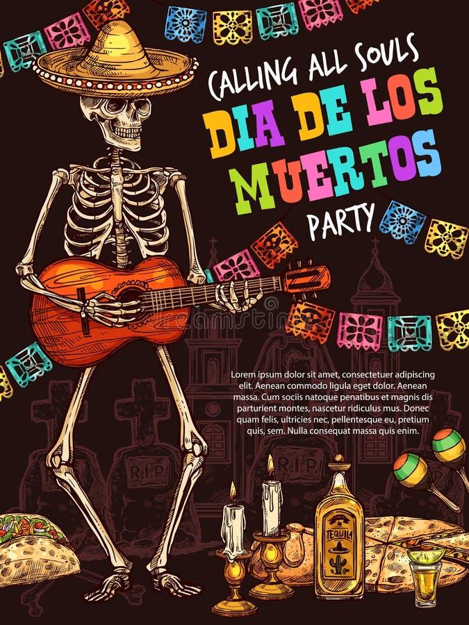 Dia do crânio inoperante que joga a guitarra Feriado mexicano ilustração do vetor