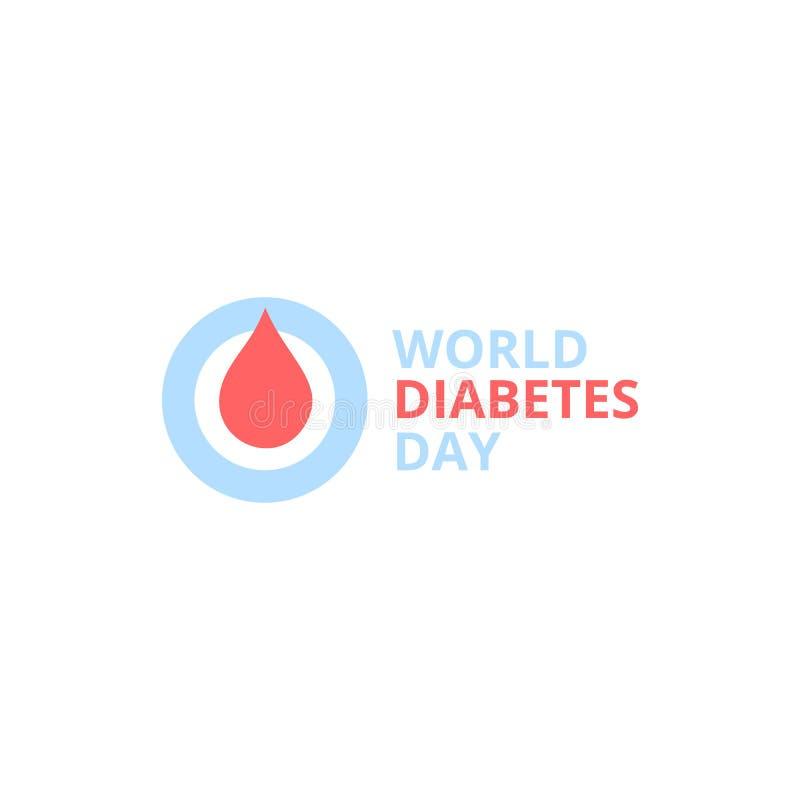 Dia do diabetes do mundo, logotipo abstrato do vetor Gota vermelha do sangue em um quadro redondo azul ilustração royalty free