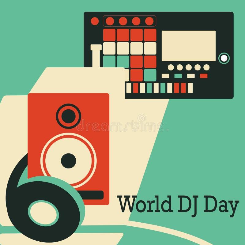Dia do DJ do mundo Ilustração do vetor com fones de ouvido controlador de midi e sistema estereofônico ilustração stock