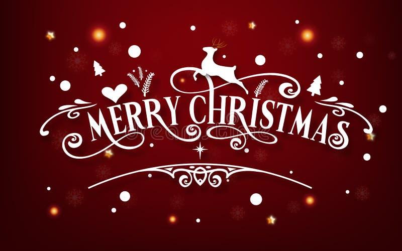 Dia do Feliz Natal Ano novo feliz e de festival do Xmas sumário do cartão da decoração da caligrafia do texto de mensagem do part ilustração stock