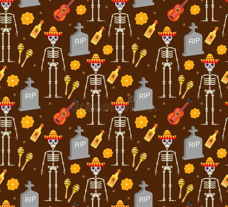 Dia do feriado inoperante no teste padrão sem emenda de México com crânios do açúcar ilustração stock