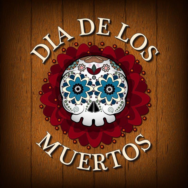 Dia do fundo inoperante do cartaz do vetor do crânio Diâmetro De Los Muertos ilustração do vetor