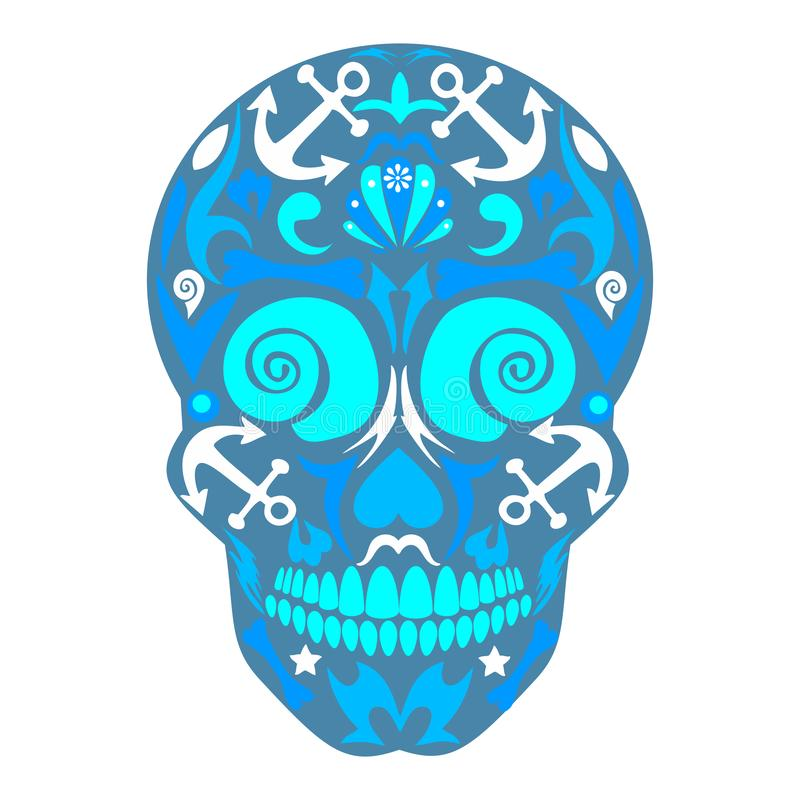 Dia do inoperante, dia de Sugar Skull inoperante, mexicano, dia do inoperante, feriado da morte, teste padrão de esqueleto do mar imagens de stock