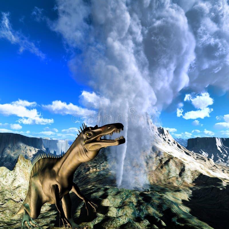 Dia do julgamento final do dinossauro ilustração stock