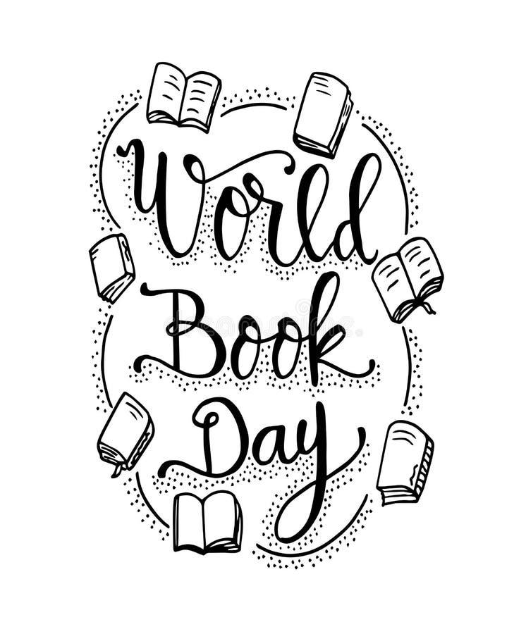 Dia do livro do mundo Livros com rotulação tirada mão, vetor ilustração do vetor