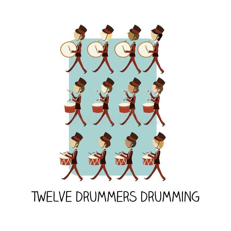 dia 12 do Natal - rufar de doze bateristas ilustração royalty free