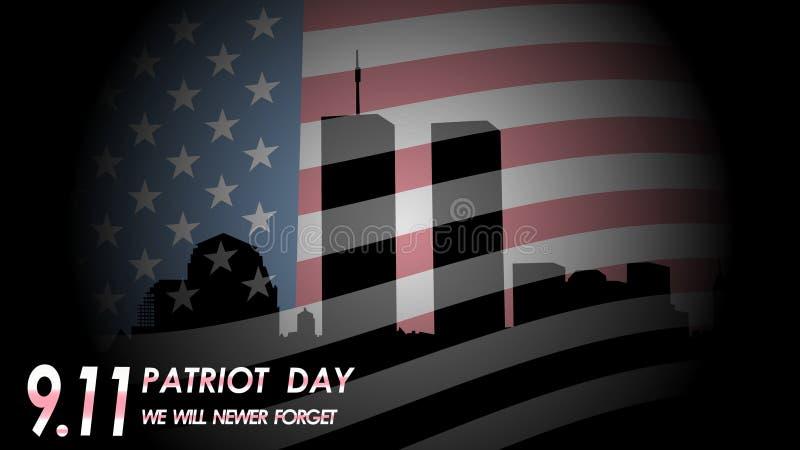 Dia do patriota 11 de setembro Nós nunca esqueceremos ilustração do vetor
