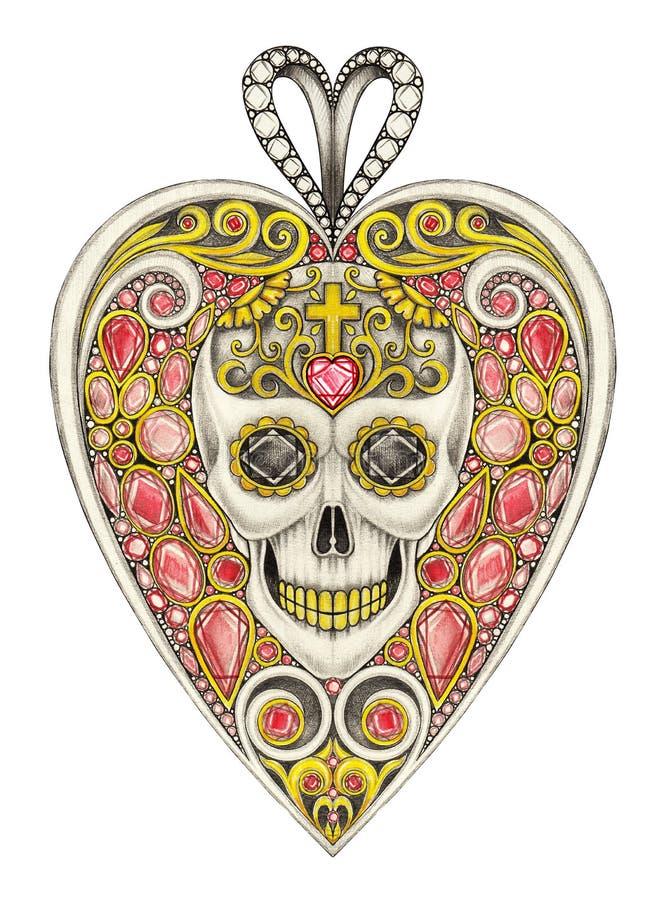Dia do pendente do coração do crânio do projeto da joia dos mortos ilustração do vetor