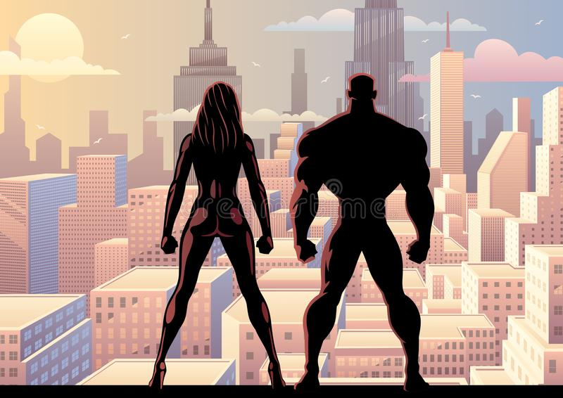 Dia 2 do relógio dos pares do super-herói ilustração royalty free