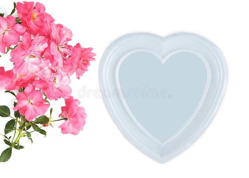 Dia do `s da matriz Dia do `s das mulheres Dia do ` s do Valentim, fundo do aniversário Ramo do quadro da rosa e da foto do rosa, fotografia de stock