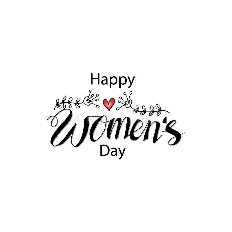 Dia do ` s das mulheres da rotulação da mão ilustração stock