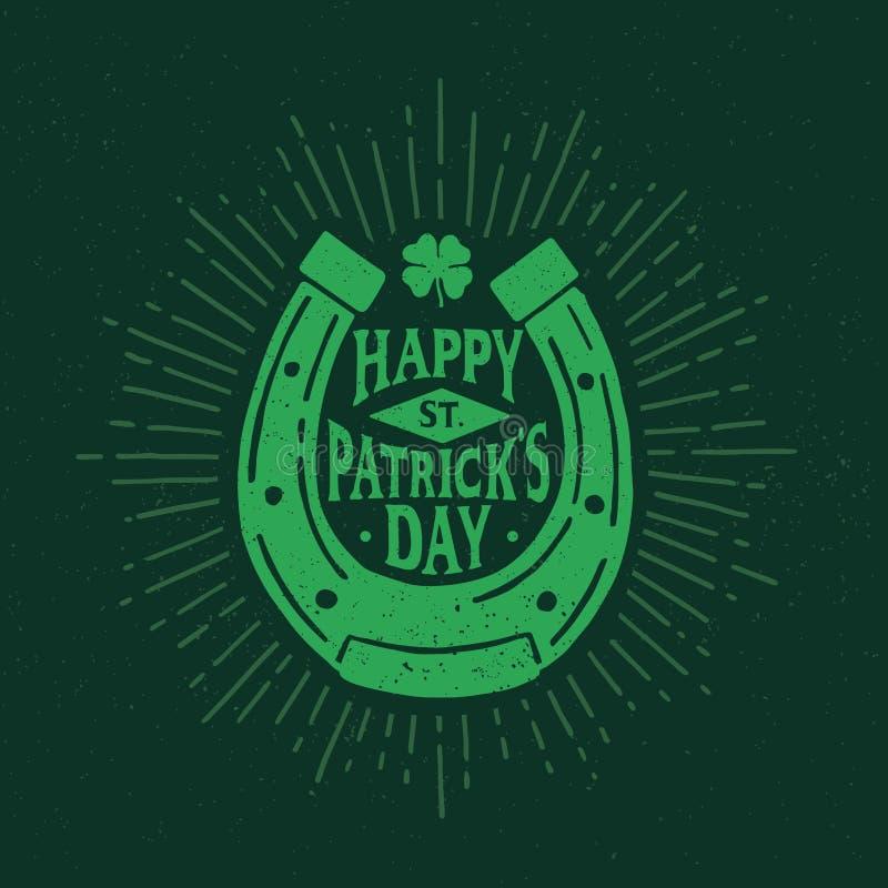 Dia do ` s de St Patrick Emblema retro do estilo da ferradura typography ilustração royalty free