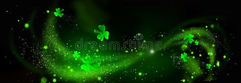 Dia do ` s de St Patrick Folhas verdes do trevo sobre o fundo preto ilustração do vetor