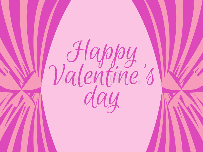 Dia do ` s do Valentim com cortinas cor-de-rosa Cartão do molde com texto Vetor ilustração stock