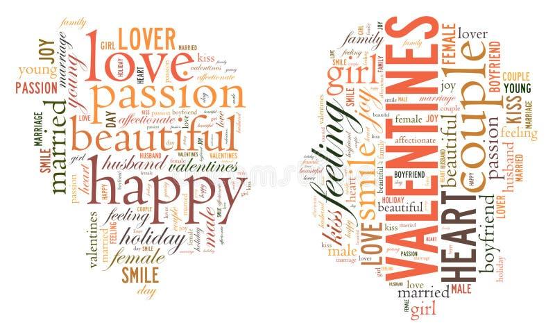 Dia do `s do Valentim Eu te amo Pares Loving Coração Ilustração nas palavras ilustração royalty free