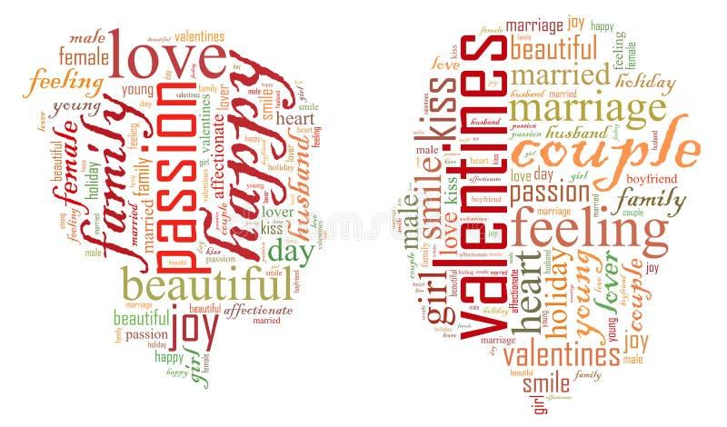 Dia do `s do Valentim Eu te amo Pares Loving Coração Ilustração nas palavras ilustração do vetor