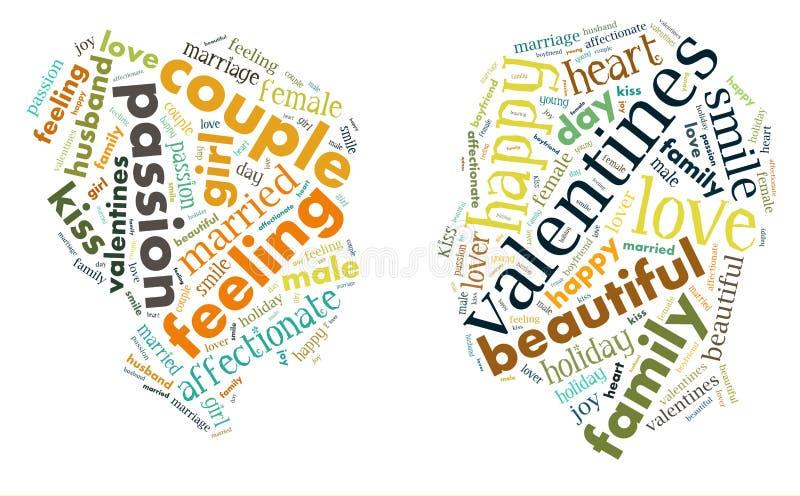 Dia do `s do Valentim Eu te amo Pares Loving Coração Ilustração nas palavras ilustração stock