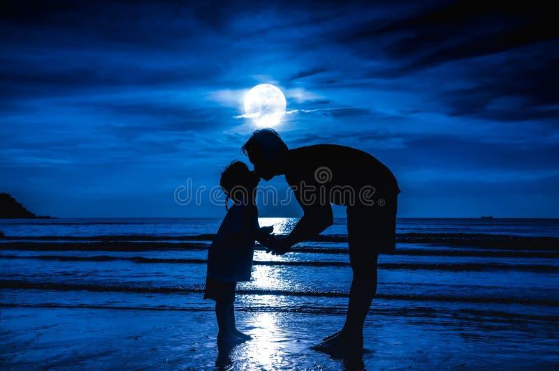 Dia do `s do pai Mostre em silhueta a opinião lateral criança loving que beija seu f imagens de stock royalty free