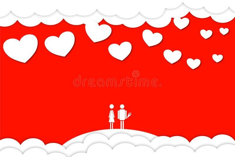 Dia do `s do Valentim Homem pequeno de dois amantes foto de stock royalty free