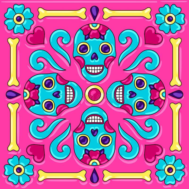 Dia do teste padrão inoperante do azulejo de talavera do mexicano ilustração stock