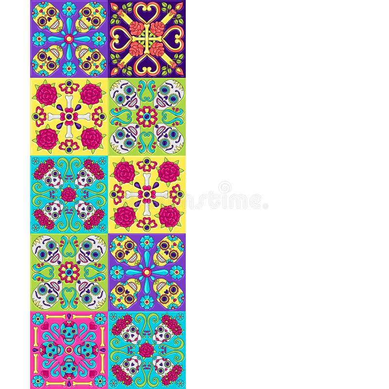 Dia do teste padrão inoperante do azulejo de talavera do mexicano ilustração royalty free