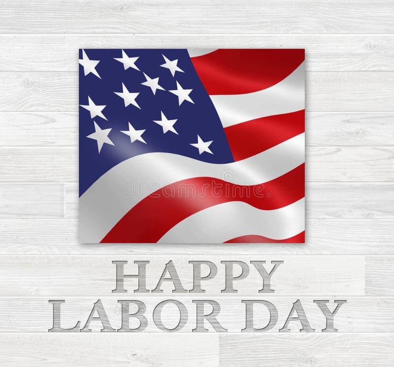 Dia do Trabalhador feliz Art Logo de madeira imagem de stock