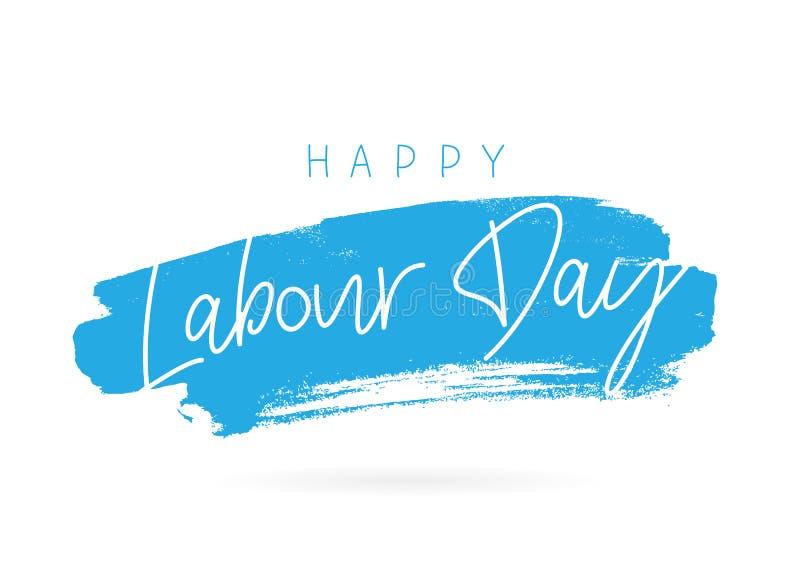 Dia do Trabalhador feliz lettering ilustração stock