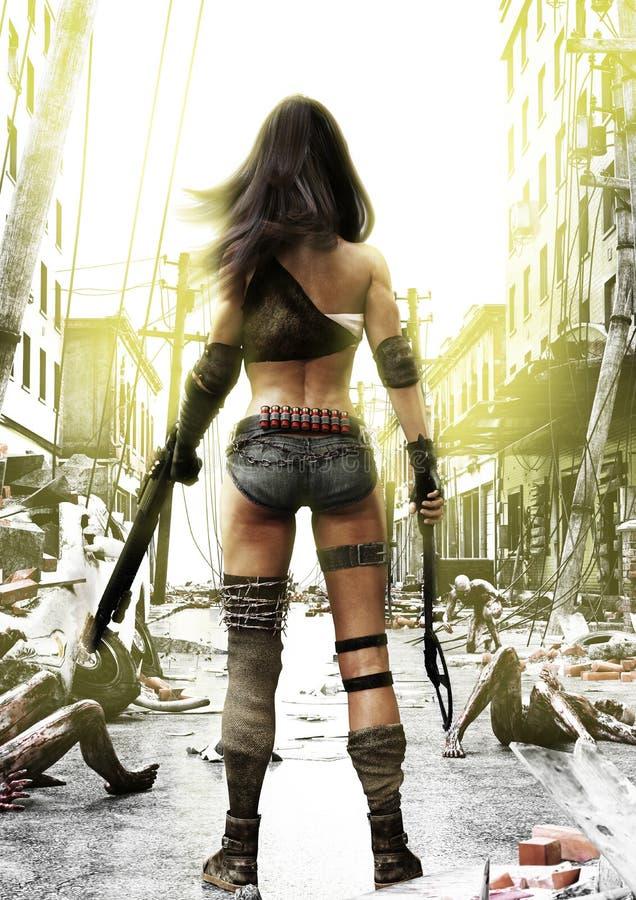 Dia do treinamento, zombis que avançam em uma fêmea sem medo apocalíptico inteiramente preparada do cargo com um fundo arruinado  foto de stock