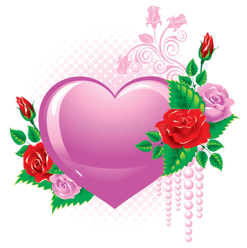 Dia do Valentim. Coração decorado com rosas. ilustração do vetor
