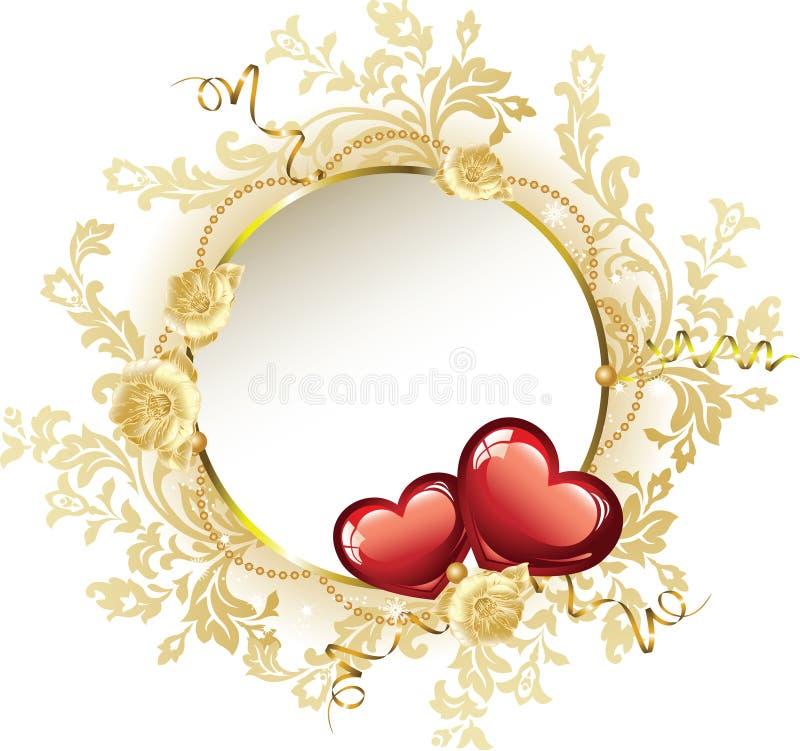 Dia do Valentim do frame do vintage ilustração royalty free