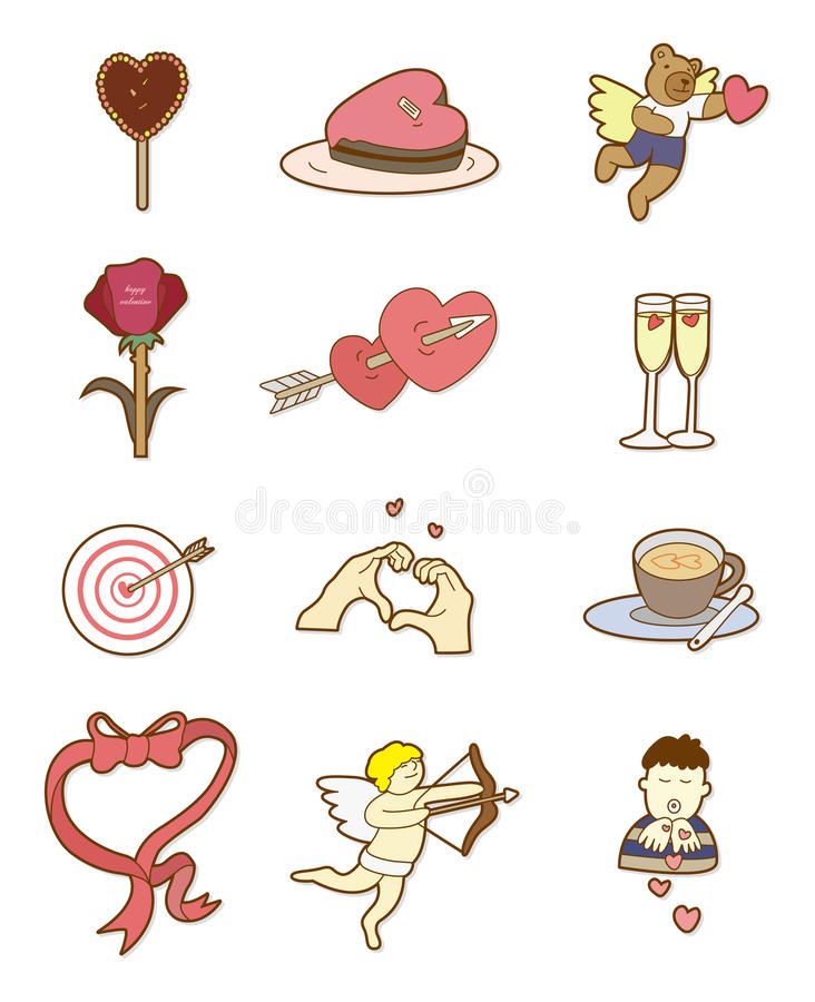 Dia do Valentim dos desenhos animados ilustração royalty free