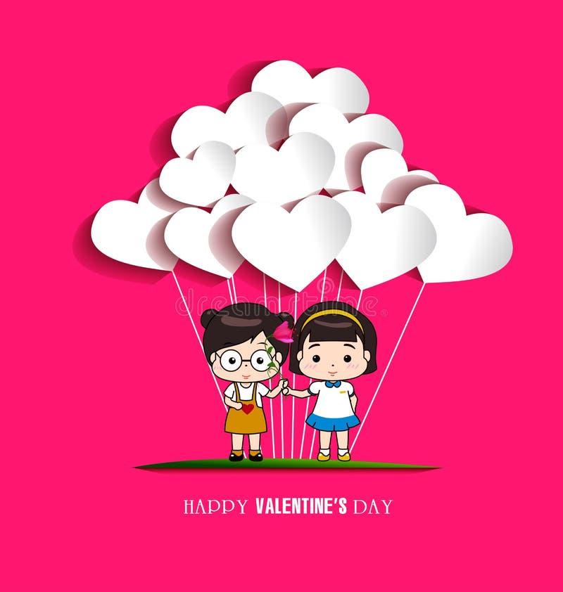 Dia do Valentim feliz ilustração do vetor