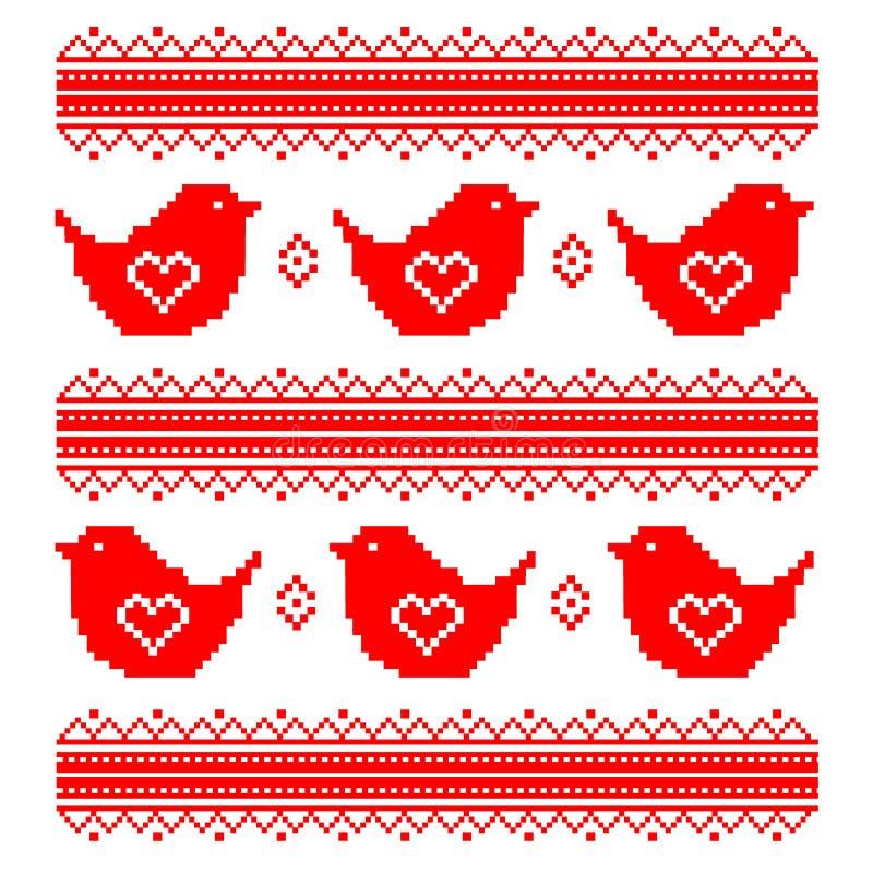 Dia do Valentim s Pombos vermelhos Coração ilustração do vetor