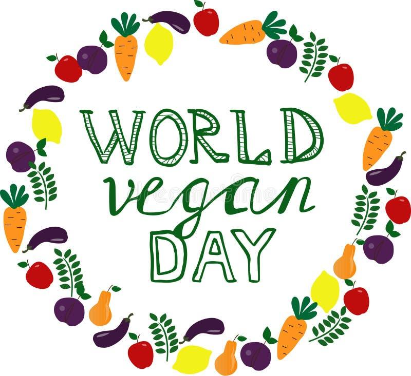 Dia do vegetariano do mundo Molde, bandeira, cartaz ilustração do vetor