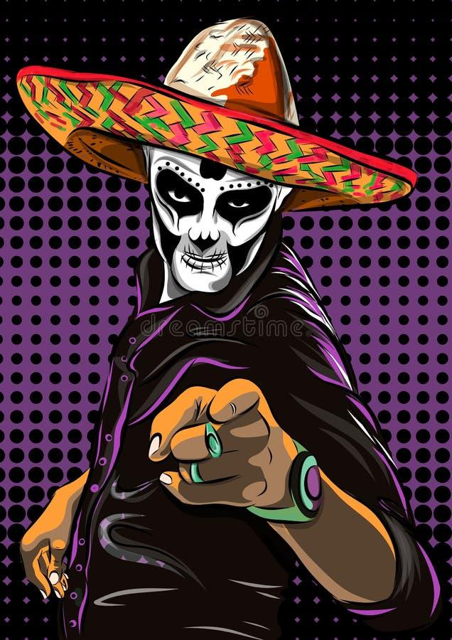 Dia do vetor inoperante do homem do crânio do açúcar Crânio mexicano Diâmetro De Los Muertos Ilustração EPS10 ilustração do vetor