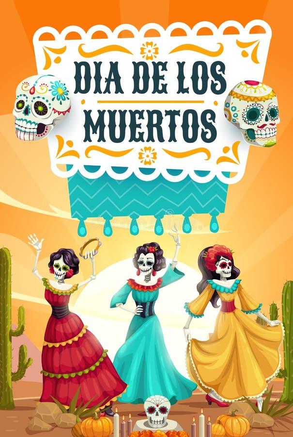 Dia dos esqueletos inoperantes, dança mexicana da festa do partido ilustração royalty free