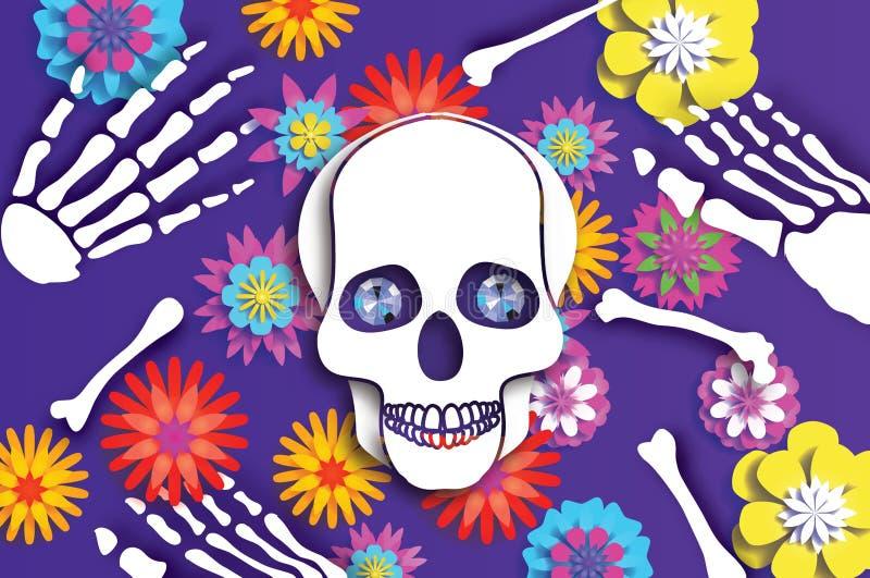 Dia dos mortos Crânio do corte do papel para a celebração mexicana Esqueleto tradicional de México Olhos azuis do diamante Diâmet ilustração royalty free