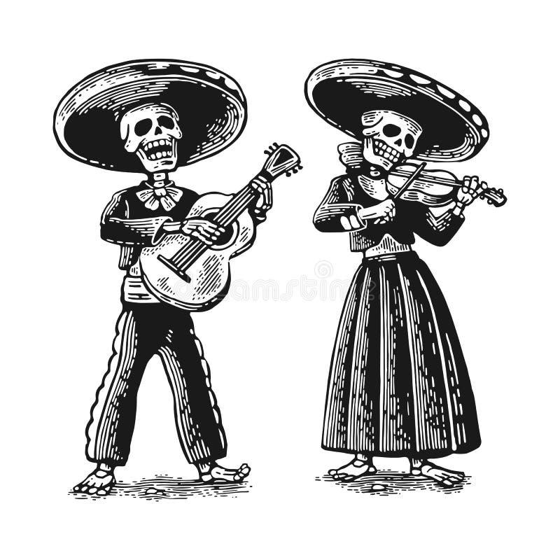 Dia dos mortos, Diâmetro de los Muertos O esqueleto nos trajes nacionais mexicanos dança, canta e joga a guitarra ilustração stock