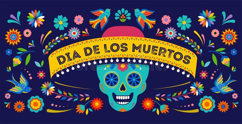 Dia dos mortos, do fundo do diâmetro de los muertos, da bandeira e do conceito do cartão com crânio do açúcar ilustração royalty free