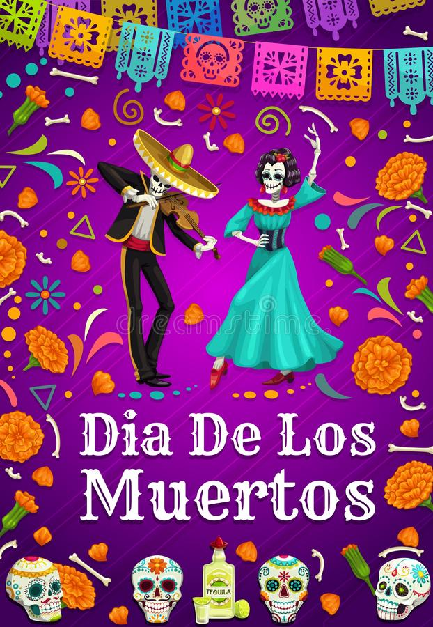 Dia dos mortos em México, esqueletos de dança do homem da mulher ilustração royalty free