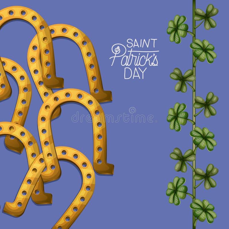 Dia dos patricks de Saint do cartaz com ferraduras douradas e a planta de escalada dos trevos na silhueta colorida sobre a violet ilustração do vetor