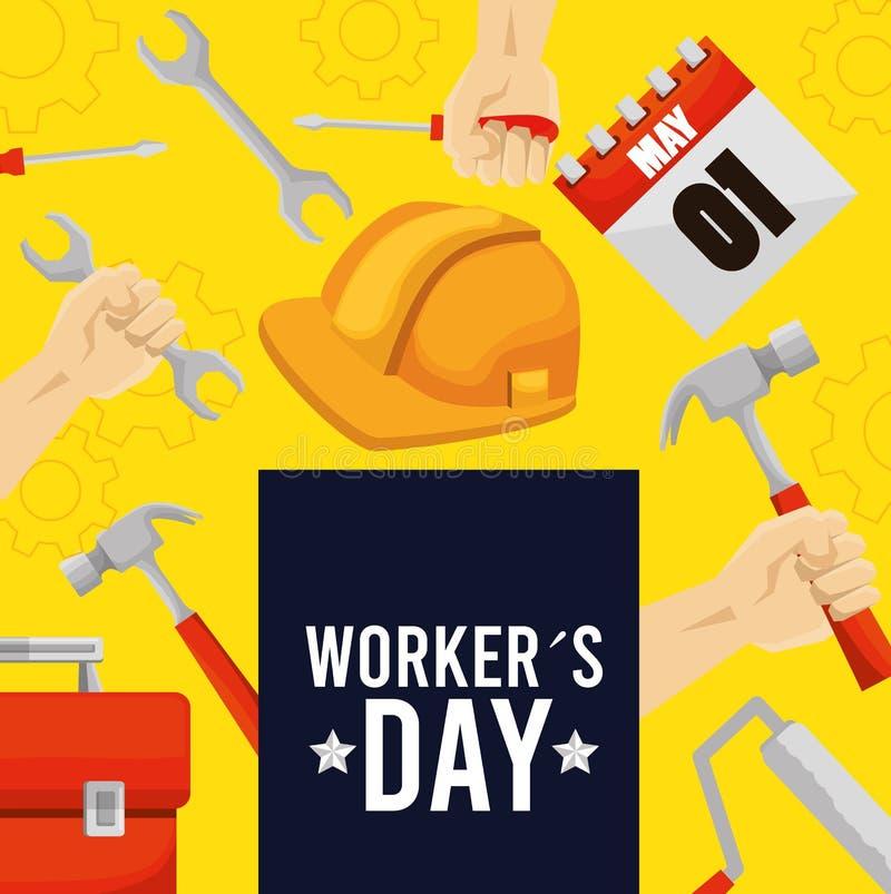 Dia dos trabalhadores do emblema com ferramentas da construção ilustração do vetor