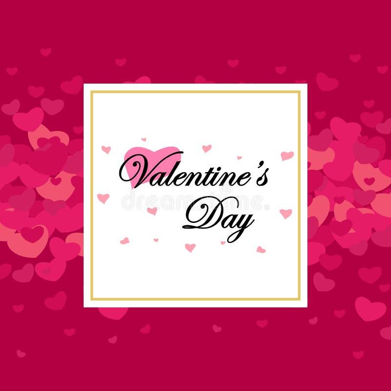 Dia e cartões de Valentim feliz ilustração do vetor