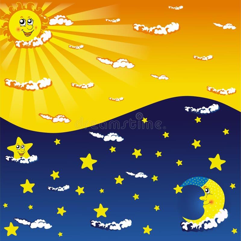 Dia e noite ilustração royalty free